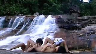 Raw Lesbos On The Waterfall
