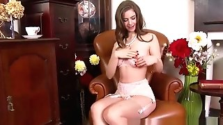 Dark-haired Stunner Plays With Big Tits And Honeypot In Retro Nylons And Underwear