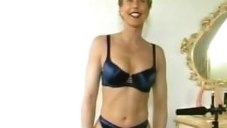 Retro German honey fucks herself on camera