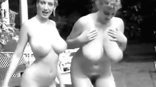 Two Chesty GALS Jiggling Knockers in Pool (1960s Antique)